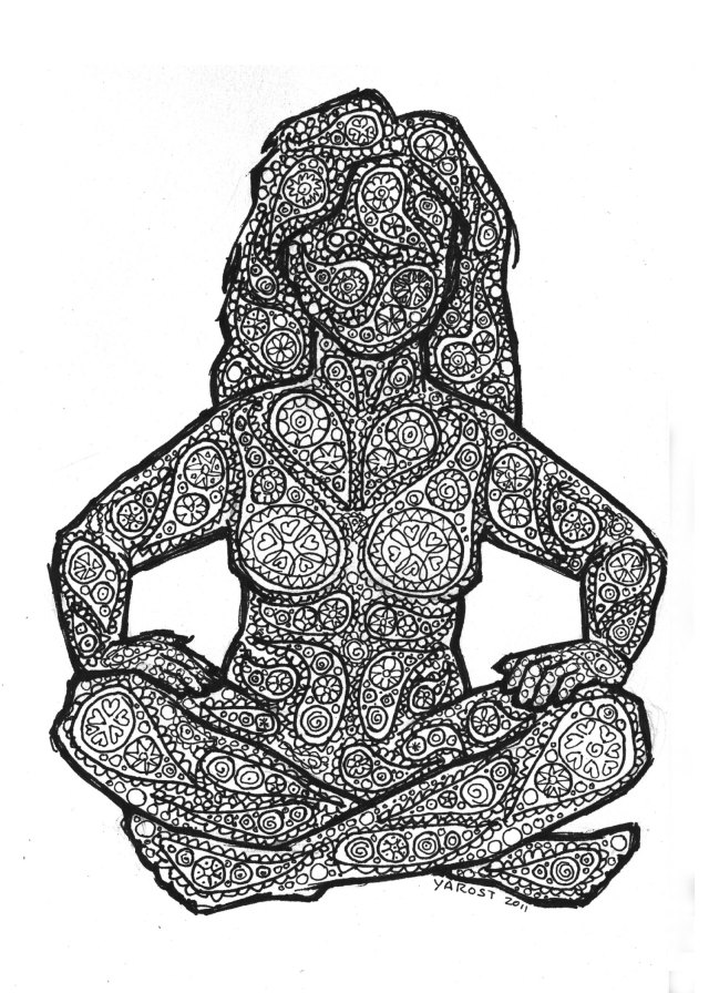 drawing of paisley covered woman