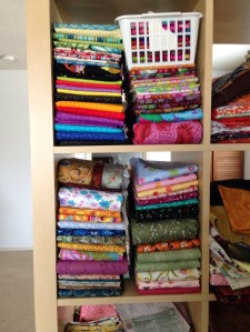 One hundred yards of fabric: about two cubic feet.