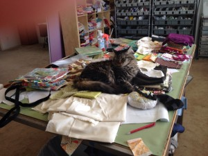 ...and on the worktable. Please do not disturb Pauline. He is testing my fabric quality.