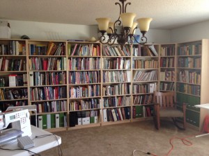My library. About three of these bookcases are stuffed with quilting books and magazines.